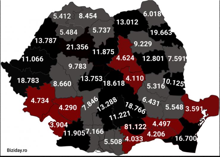 Distribuția cazurilor de coronavirus pe județe - 28 Noiembrie 2020. Sursă foto: biziday.ro