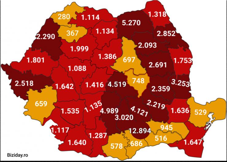 Distribuția cazurilor de coronavirus pe județe, la data de 29 august 2020. Sursă foto: Biziday.ro