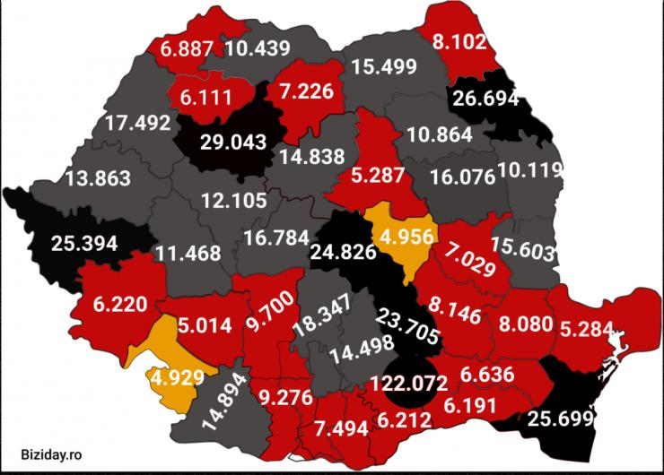 Distribuția cazurilor de coronavirus la nivel național, pe județe, la data de 29 decembrie 2020. Sursă foto: Biziday.ro