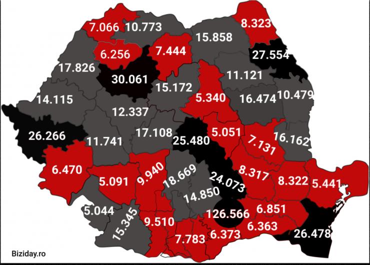 Distribuția cazurilor de coronavirus la nivel național, pe județe, la data de 3 ianuarie 2021. Sursă foto: Biziday.ro