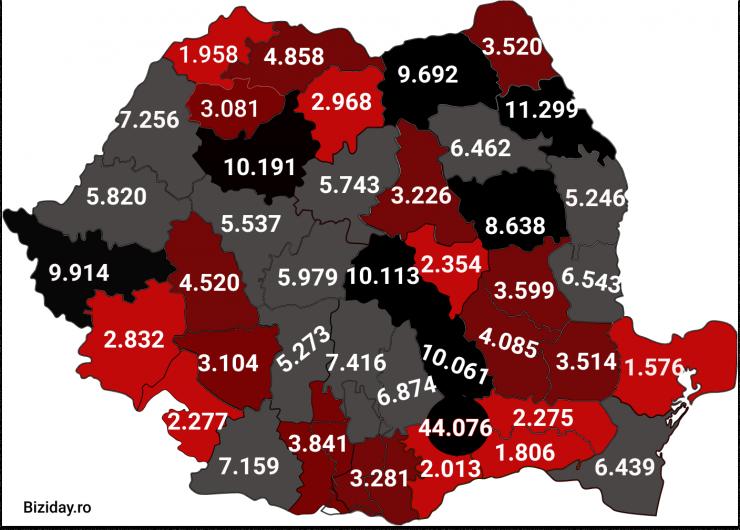 Distribuția cazurilor de coronavirus pe județe - 03 Noiembrie 2020. Sursă foto: biziday.ro