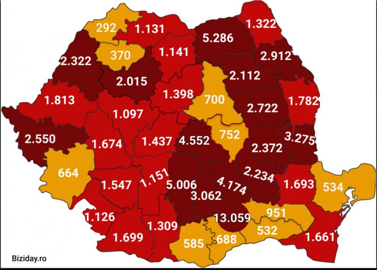 Distribuția cazurilor de coronavirus pe județe, la data de 30 august 2020. Sursă foto: Biziday.ro