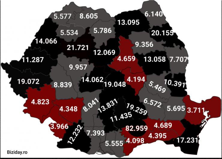Distribuția cazurilor de coronavirus pe județe - 30 Noiembrie 2020. Sursă foto: biziday.ro