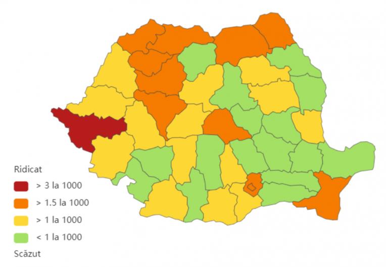 Incidenta cumulata a cazurilor de coronavirus, pe județe, în ultimele 14 zile la mia de locuitori. Sursa foto: Biziday.ro