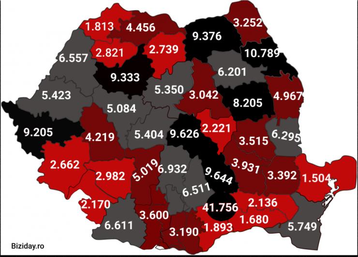 Distribuția cazurilor de coronavirus pe județe - 31 octombrie 2020. Sursă foto: biziday.ro