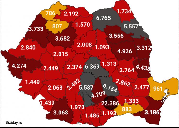 Distribuția cazurilor de coronavirus pe județe - 04 octombrie 2020. Sursă foto: biziday.ro