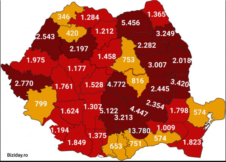 Distribuția cazurilor de coronavirus pe județe, la data de 4 septembrie 2020. Sursă foto: Biziday.ro