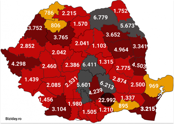 Distribuția cazurilor de coronavirus pe județe - 05 octombrie 2020. Sursă foto: biziday.ro