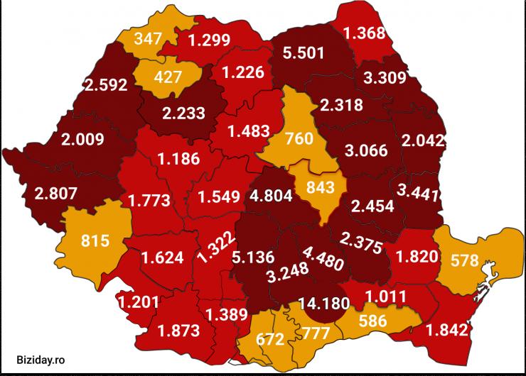 Distribuția cazurilor de coronavirus pe județe, la data de 5 septembrie 2020. Sursă foto: Biziday.ro