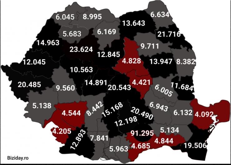 Distribuția cazurilor de coronavirus pe județe - 6 Decembrie 2020. Sursă foto: biziday.ro