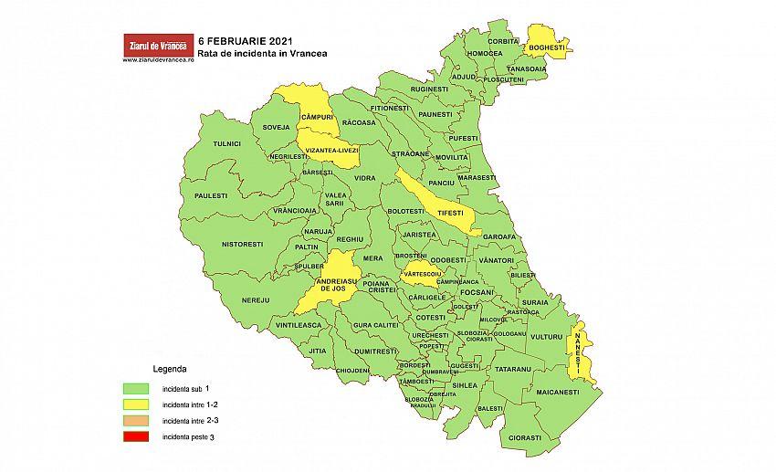 Incidenta cumulata a cazurilor de coronavirus în UAT-urile județului Vrancea, în ultimele 14 zile, la mia de locuitori. Legendă culori: Verde - rată de infectare sub 1, Galben - rată de infectare între 1-2, Portocaliu - rată de infectare între 2-3, Roșu - rată de infectare peste 3