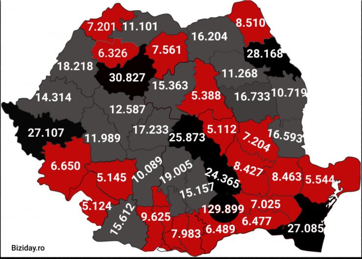 Distribuția cazurilor de coronavirus la nivel național, pe județe, la data de 6 ianuarie 2021. Sursă foto: Biziday.ro