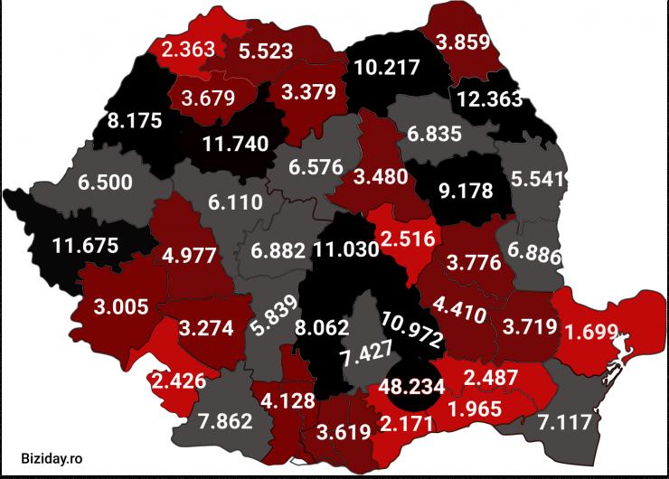 Distribuția cazurilor de coronavirus pe județe - 06 Noiembrie 2020. Sursă foto: biziday.ro