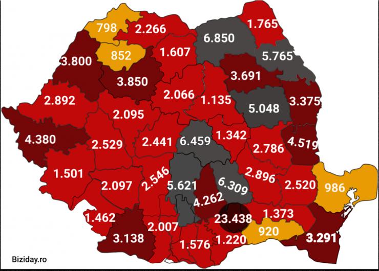 Distribuția cazurilor de coronavirus pe județe - 06 octombrie 2020. Sursă foto: biziday.ro