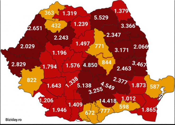 Distribuția cazurilor de coronavirus pe județe, la data de 6 septembrie 2020. Sursă foto: Biziday.ro