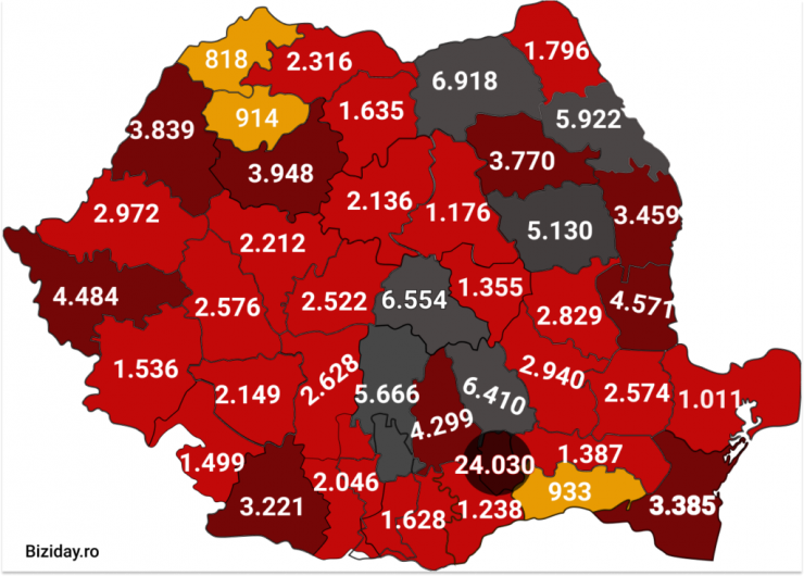 Distribuția cazurilor de coronavirus pe județe - 07 octombrie 2020. Sursă foto: biziday.ro