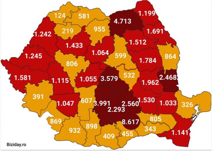 Distribuția cazurilor de coronavirus pe județe, la data de 8 august 2020. Sursă foto: Biziday.ro