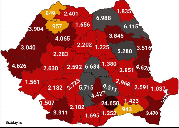 Distribuția cazurilor de coronavirus pe județe - 08 octombrie 2020. Sursă foto: biziday.ro