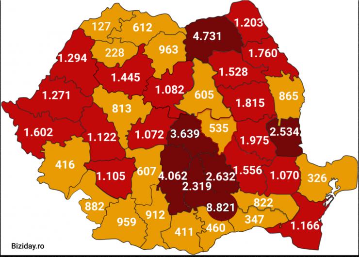 Distribuția cazurilor de coronavirus pe județe, la data de 9 august 2020. Sursă foto: Biziday.ro