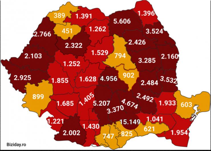 Distribuția cazurilor de coronavirus pe județe, la data de 9 septembrie 2020. Sursă foto: Biziday.ro