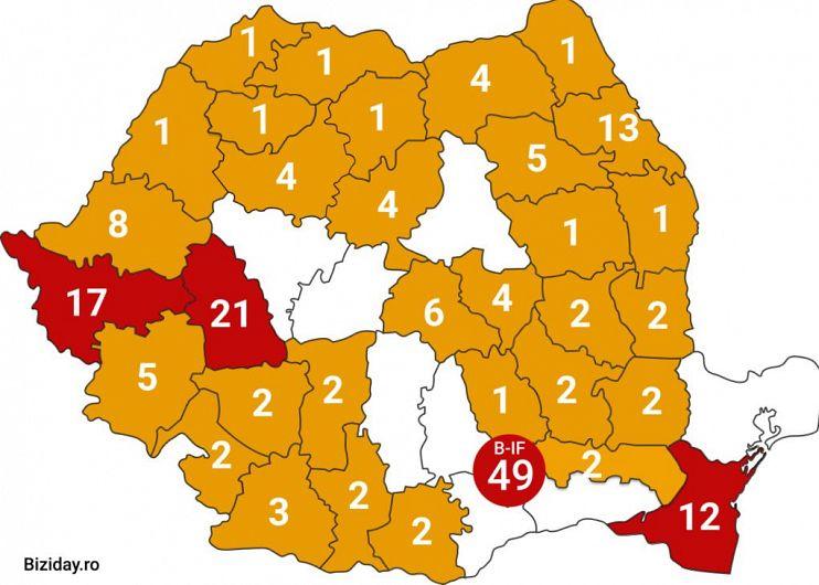 Cazurile de coronavirus, confirmate de Grupul de Comunicare strategică la data de 17 martie, ora 10:00. Sursa foto: biziday.ro