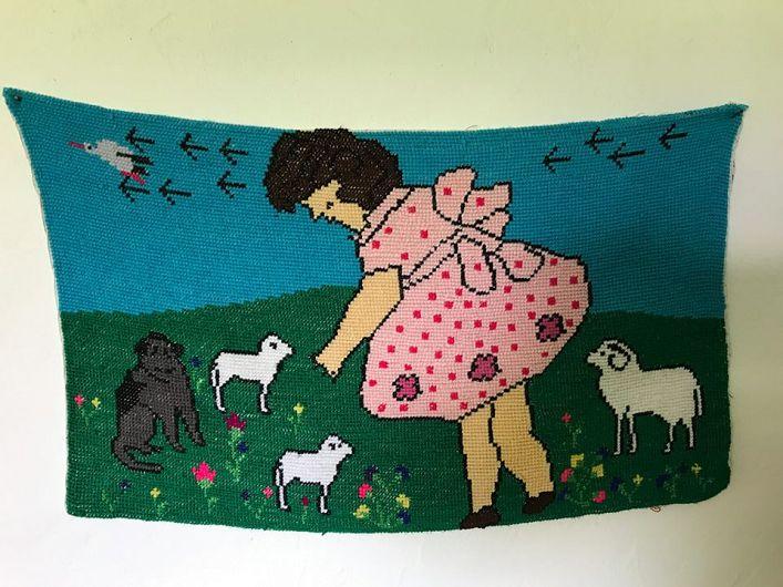 Carpetă cusută de o localnică