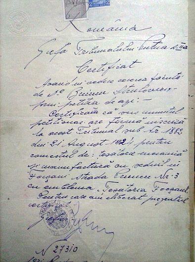 Foto:Document de arhivă care atestă existența fabricii Țesătura Focșani în 1924 pe strada Pruncu nr. 3