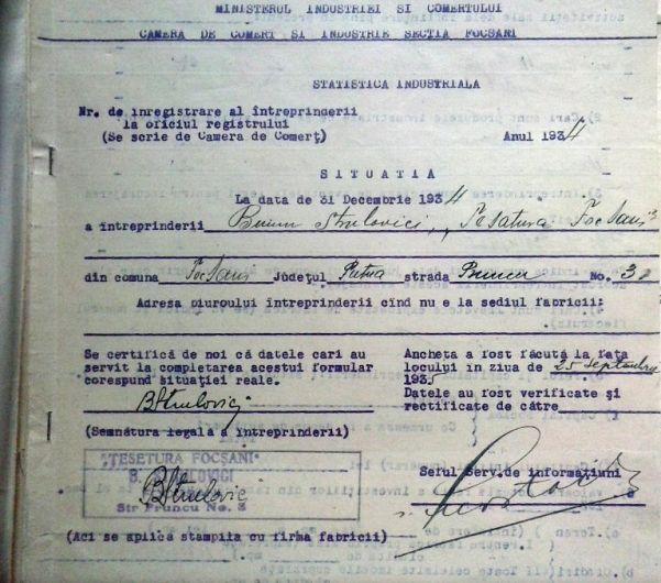 Foto:Document din 1935 care inventaria avutul fabricii domnului Buium Strulovici