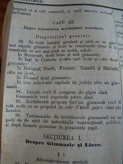 Ordinul Domnesc nr.26512 din 10 august 1865 de înființare a unor gimnazii și licee, unul la Focșani-Fotografie preluată din Albumul Unirea 152