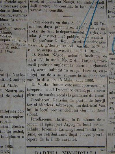 Ordinul de numire al primului director, Ștefan Neagoe-Fotografie preluată din Albumul Unirea 152