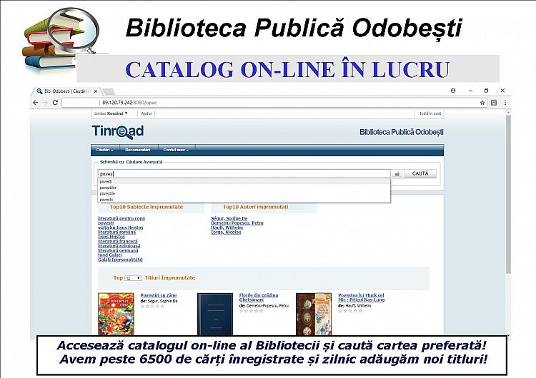Foto: Interfața site-ului, cu catalogul online