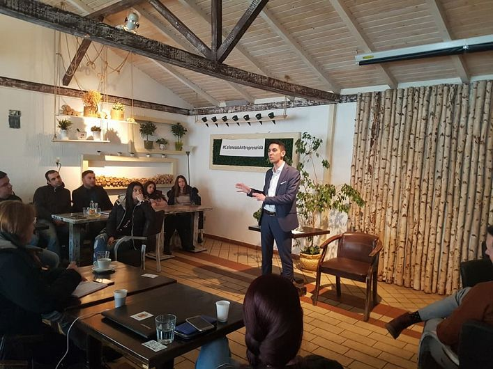Profir Catalin New Business Manager Soft Tehnica- a participat și a susținut o prelegere la Cafeneaua Antreprenorială de la Focșani-10.02.2018