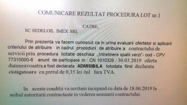 Anunț atribuire contract întreținere spați verzi Focșani-lot 1-Foto:adevarul.ro