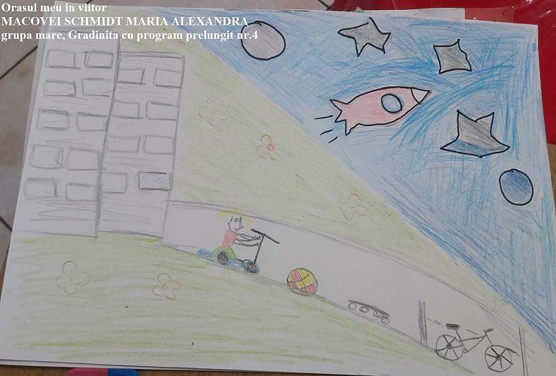 """MACOVEI SCHMIDT MARIA ALEXANDRA grupa mare gradinita cu program prelungit nr 4, locul III, la concursului de desene ,, Oraşul meu în viitor"""" organizat de Biblioteca municipală Adjud"""