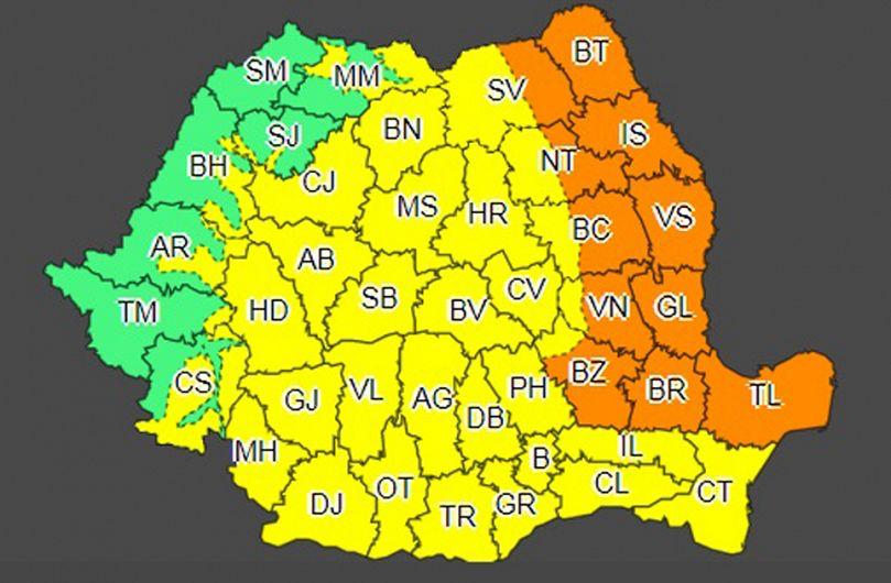 Cea mai mare parte din teritoriul județului Vrancea intră de astăzi, marți 12 mai 2020, de  la ora 11:00, sub avertizare meteo cod portocaliu de vânt și vijelii