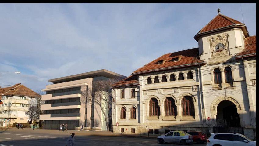 Simulare apărută în mediul online cu un bloc nou construit lângă clădirea Tribunalului vechi în Focșani