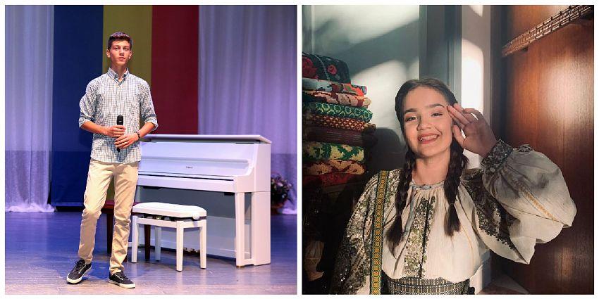 """Elevii Școlii Populare de Artă, din cadrul Centrului Cultural Vrancea, Andreea Crețu( foto dreapta), elevă la clasa de Canto popular, îndrumată de expert, Maria Murgoci și Alexandru Preda( foto stânga), elev la clasa de Orgă, îndrumat de expert Dumitru Ivan, vor participa la emisiunea """"Românii au talent!"""" difuzată de postul de televiziune ProTV"""