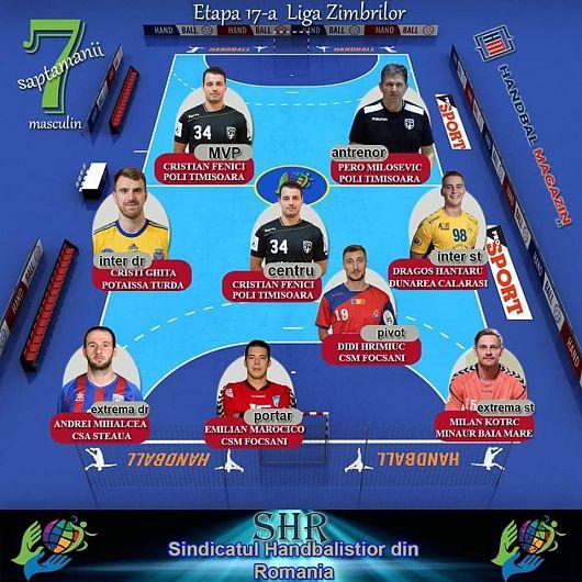 7-le săptămânii masculin Liga Zimbrilor etapa 17 din care fac parte și doi handbaliști  de la CSM Focșani 2007.Foto:snhr.ro