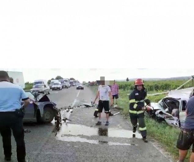 Fotografie de la locul producerii accidentului, transmisă de IPJ Vrancea