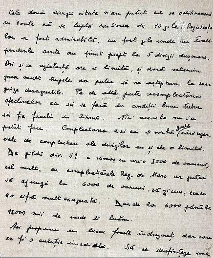 1917, august 2, Ghidigeni. Scrisoarea principelui Carol către tatăl său referitoare la pierderile înregistrate de Divizia 5 şi 9 Infanterie, necesitatea întăririi efectivelor și a efectuării unor schimbări în statele majore-Partea a II-a scrisorii.Sursa foto:  ANR, SANIC, fond Casa Regală. Personale – Ferdinand, dosar V/184/1917, f. 1-2