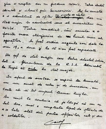 1917, august 2, Ghidigeni. Scrisoarea principelui Carol către tatăl său referitoare la pierderile înregistrate de Divizia 5 şi 9 Infanterie, necesitatea întăririi efectivelor și a efectuării unor schimbări în statele majore.Partea a IV-a a scrisorii.Sursa foto: ANR, SANIC, fond Casa Regală. Personale – Ferdinand, dosar V/184/1917, f. 1-2