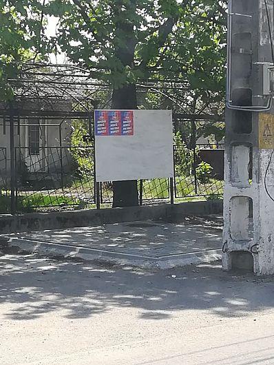 Afișaj electoral în ziua de 26.04.2019, când campania electorală nu a început la, Câmpineanca -foto:PNL Vrancea