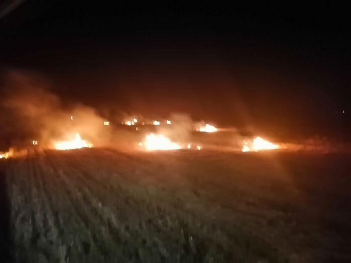 Imagini de la incendiu de vegetație uscată produs joi 5 august 2021 la Vulturu.Foto:ISU Vrancea