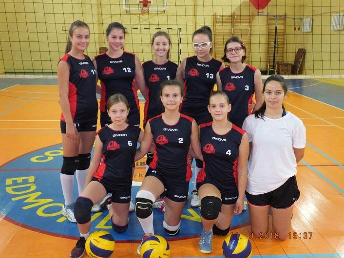 In imagine echipa de cadete a CSȘ  Focșani și echipamentele dăruite fetelor de Roman's