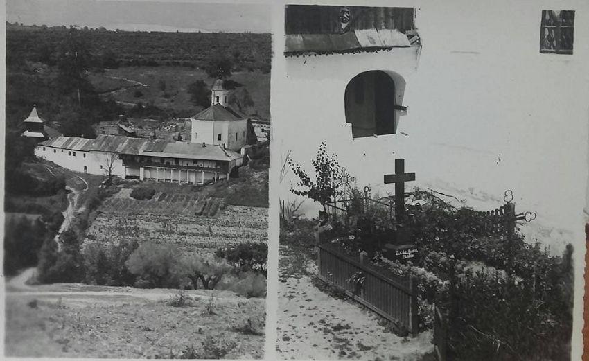 Mormântul lui Ioan Slavici din incinta mănăstirii Brazi. Foto: contul de facebook Gheorghiu Diana