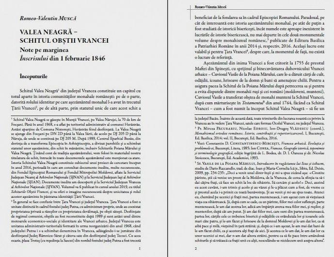 Înscrisul Obștii Vrancei din 1846 despre Schitul Valea Neagră. Note pe marginea acestui document, de Romeo-Valentin Muscă-Foto:Casa de Cultură Odobești