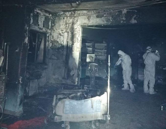 Imagine din salonul în care a avut loc incendiul FOTO: ISU