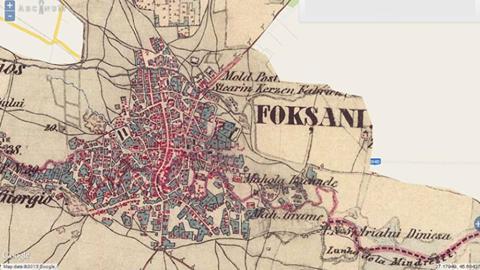 Sursa foto facebook Focșani vechi, hartă a Focșaniului  realizată de austrieci la 1856.