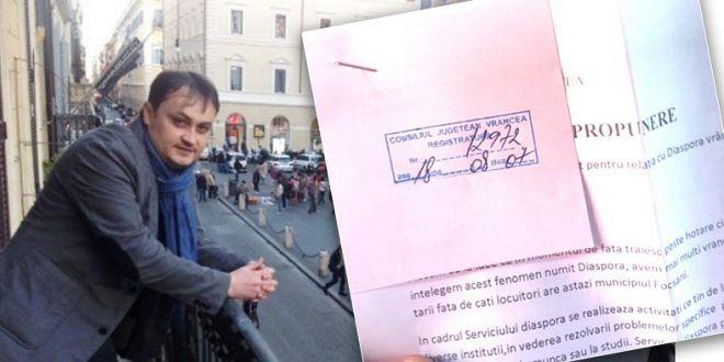 Consilierul județean Ovidiu Burdușa care locuiește la Roma și vine în țară la ședințele CJ Vrancea, inițiatorul proiectului respins de majoritatea PSD-ALDE