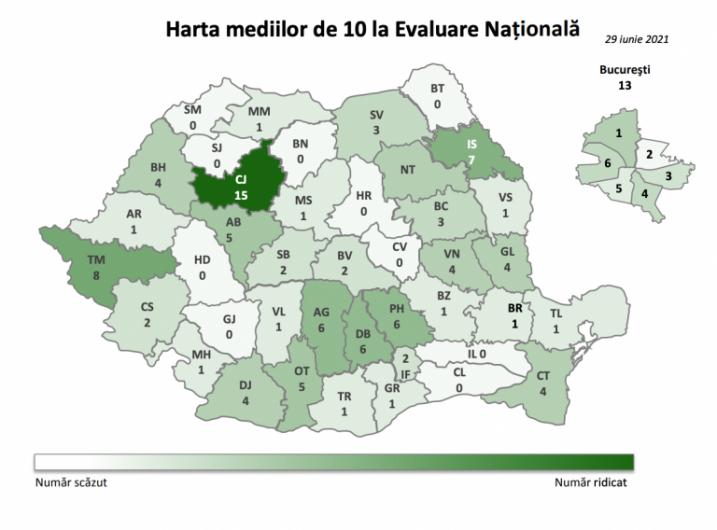 Harta mediilor de 10 obținute înainte de contestații la Evaluarea Națională din acest an. Sursă foto: edupedu.ro